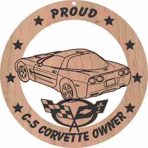 Corvette C5 Coupe Wood Ornament Engraved rear  3//4 view