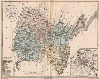 Ain. Carte Du Département. Plan De Bourg. Malte-brun 1852 Old Antique Map