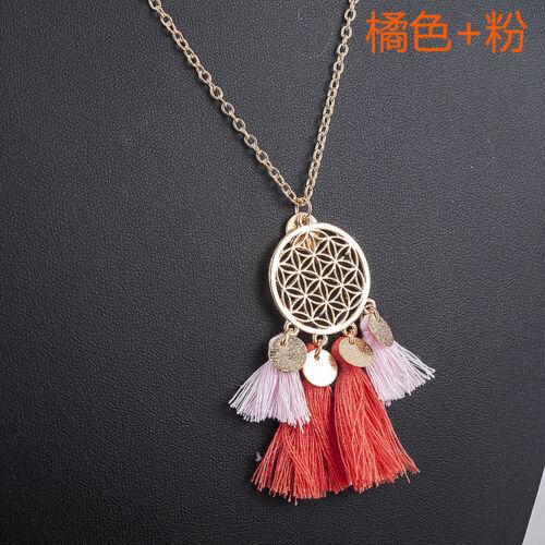 Bohemia Women Boho Hollow Tassel Pendant Necklace Long Sweater Chain Jewelry