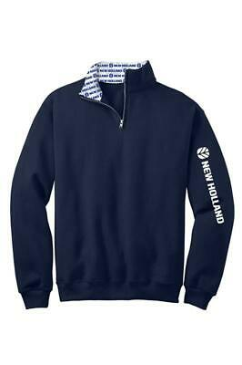 New Holland Blue Hooded Sweatshirt Blue and Yellow Logo Cotton Blend NH259545