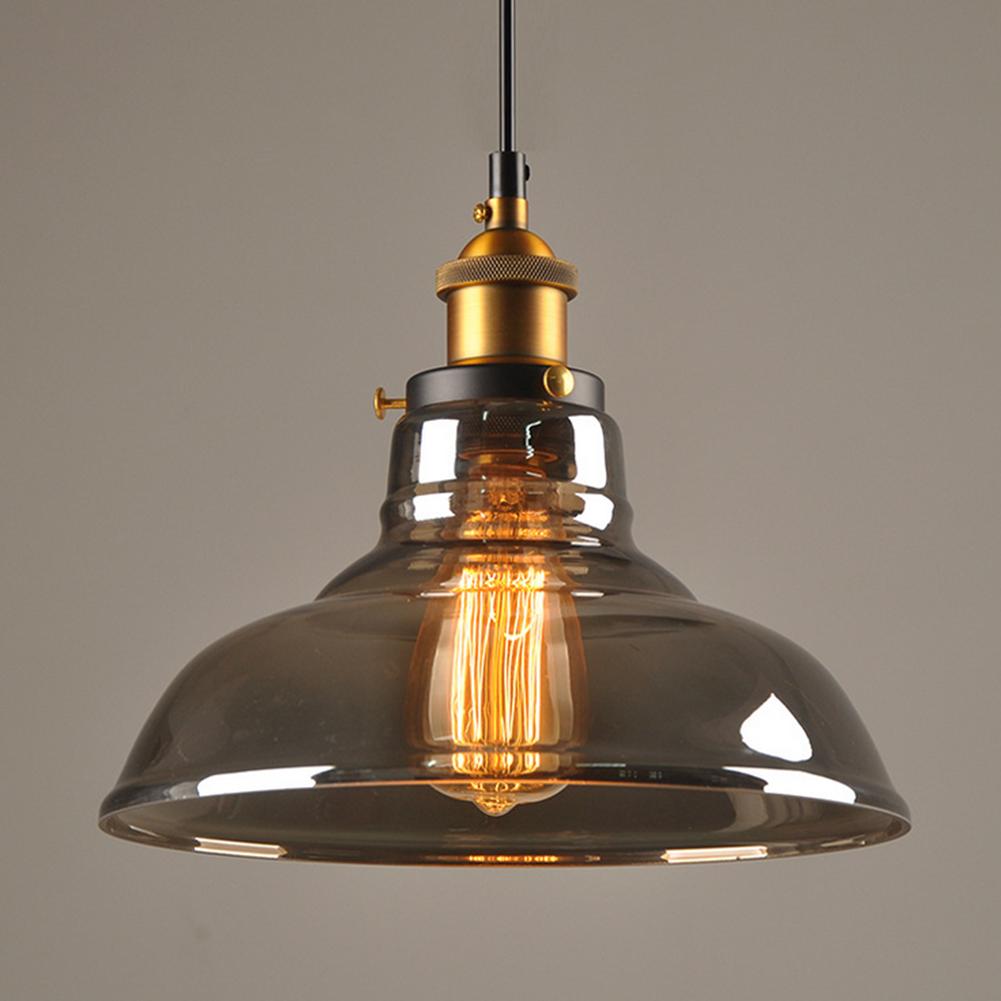 RETRO ANTIQUE COPPER CAFE BAR METAL PENDANT LAMP GLASS CONE SHADE LIGHT