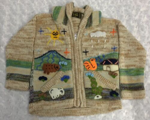 American South Side Hooded Sweater Kids Size 4 Farm Pockets 3D Embroidered