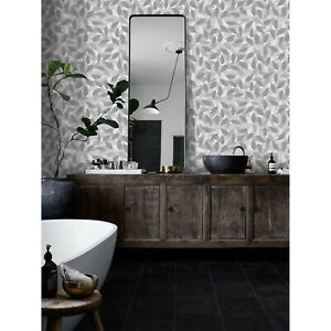 Gray-leaves-Removable-wallpaper-gray-and-white-wall-mural-peel-and-stick