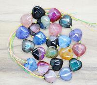 25pcs rainbow mixed color dragon Agate Pendant Gemstone heart loose beads 14mm