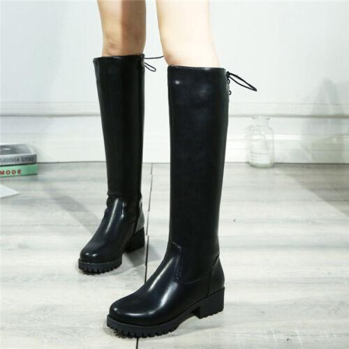 Einfach Schwarz Rund Kniehoch Damen Stiefel Schuhe Reißverschluss Kunstleder Neu