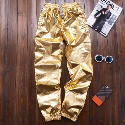 Homme Skate Hip Hop Dance Jogger Pantalon Brillant Pantalons PANTALON Slacks Casual Shiny