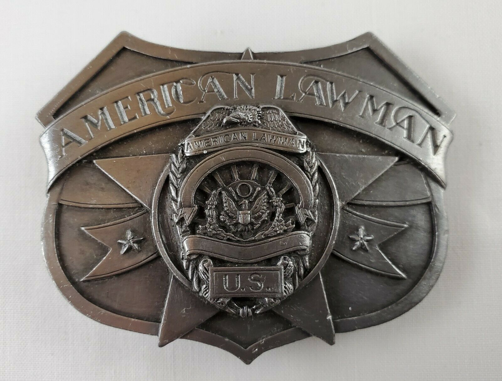 SiskiYou Buckle Co. American Lawman To Serve And Protect Belt Buckle 1986