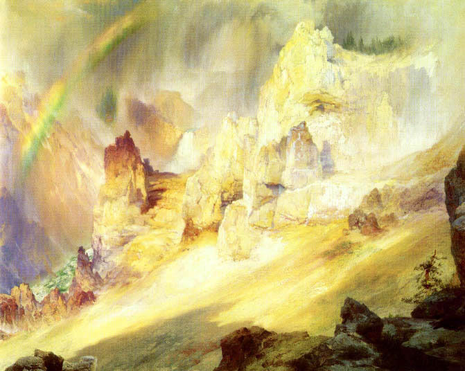RAINBOW OVER GRAND CANYON gialloSTONE AMERICAN PAINTING BY THOMAS MORAN REPRO