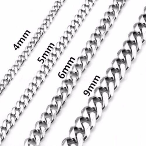 2-9mm Men Womens 316L Stainless Steel Silver Twist Curb Chain Necklace Pendent