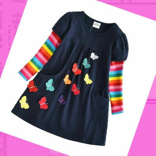 Mädchen Kleid Langarm Baumwolle Frühling Kleider Gr 92 98 104 110 116 122 128