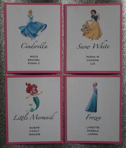 DIY HANDMADE WEDDING TABLE PLAN CARDS DISNEY THEME LOOSE SEATING CHART CARDS