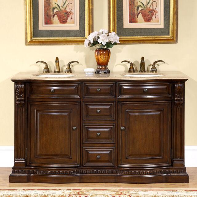 60 Inch Bathroom Double Vanity Travertine Top Dual Ivory Sink Cabinet 0712TR