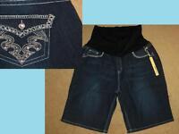 3x Maternity Jean Shorts Back Bling Pockets Bermuda Length Plus Size