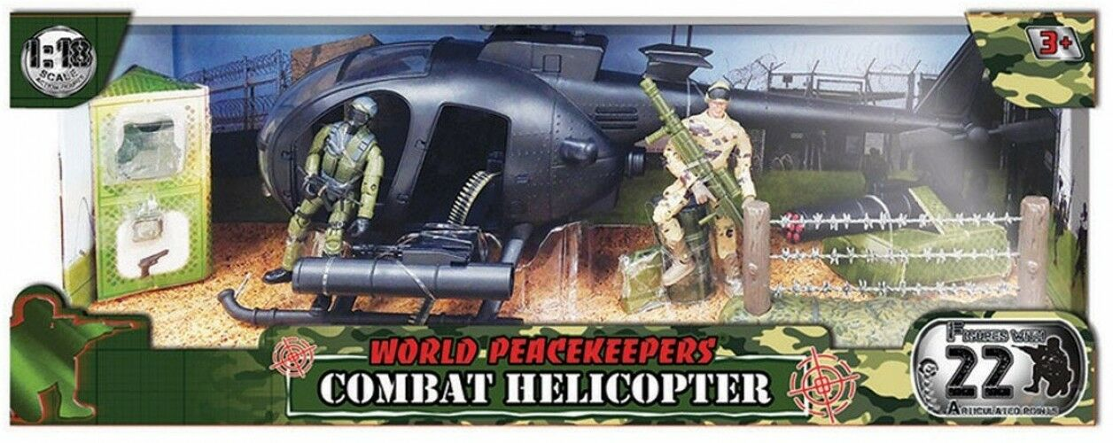 World Peacekeepers Combat Helicopter and 2 Figures
