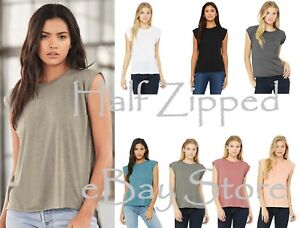9d521518 Bella + Canvas Women's Flowy Muscle Tee T-Shirt with Rolled Cuffs ...