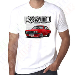 Mk2-Ford-Escort-Red-Rs2000-Mens-White-T-shirt-Personalised-number-plate-option
