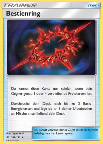 Reverse Holo DE NM Pokemo Bestienring 102//131 SM6 Grauen der Lichtfinsternis