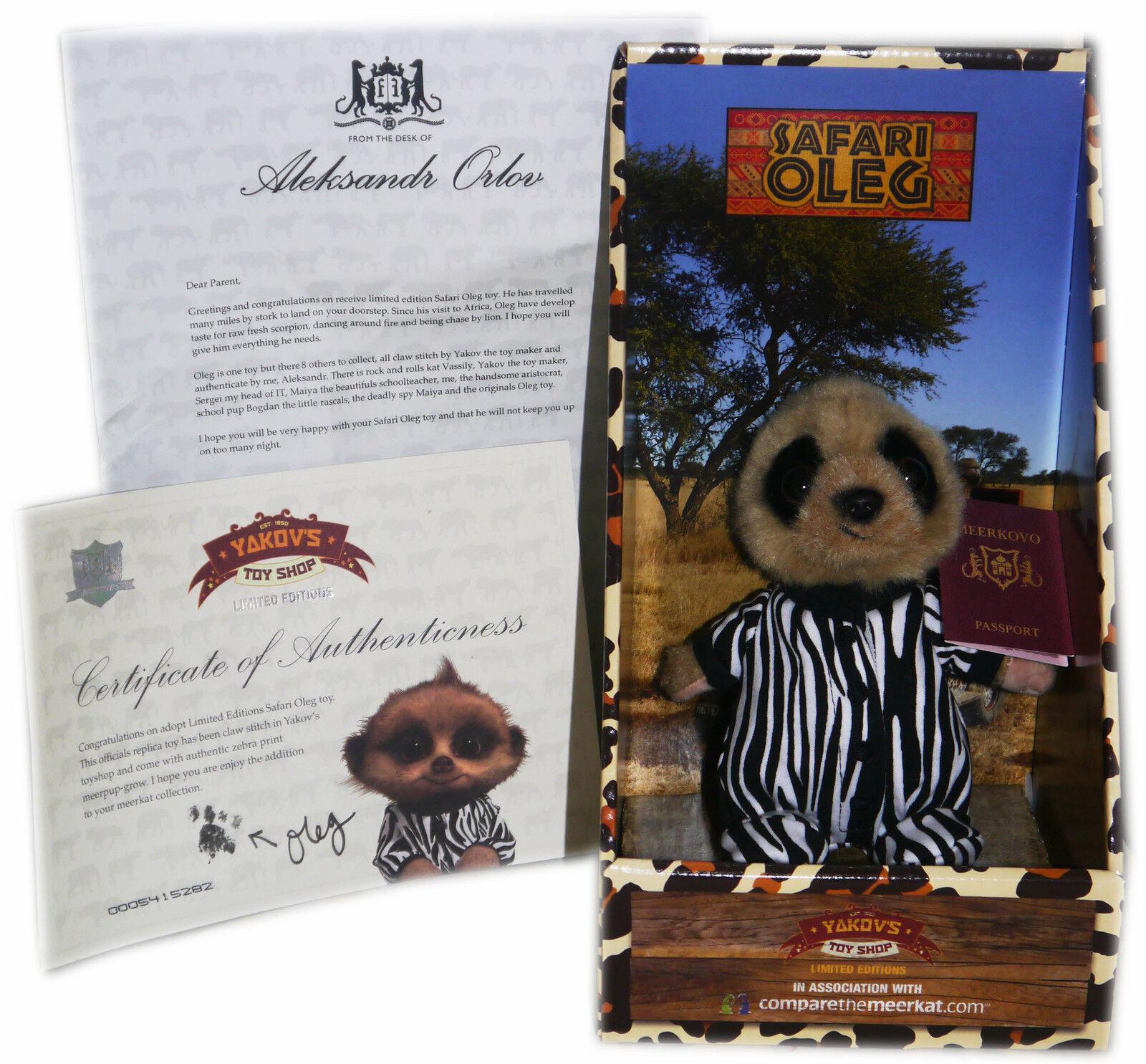 Meerkat Limited Edition Safari Baby Oleg with Certificate (COA) Letter & Box