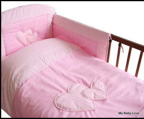 LOVELY 3 pcs BABY  BEDDING SET//BUMPER  to fit  COT BED// COTBED PINK