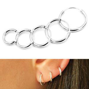 925-Sterling-Silver-Solid-Classic-Hoop-Ring-Earrings-Lip-Ear-Nose-Body-Piercing