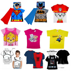 Official-Kids-Novelty-TV-Characters-superheroes-Dress-Up-Top-Boys-Girls-t-shirt