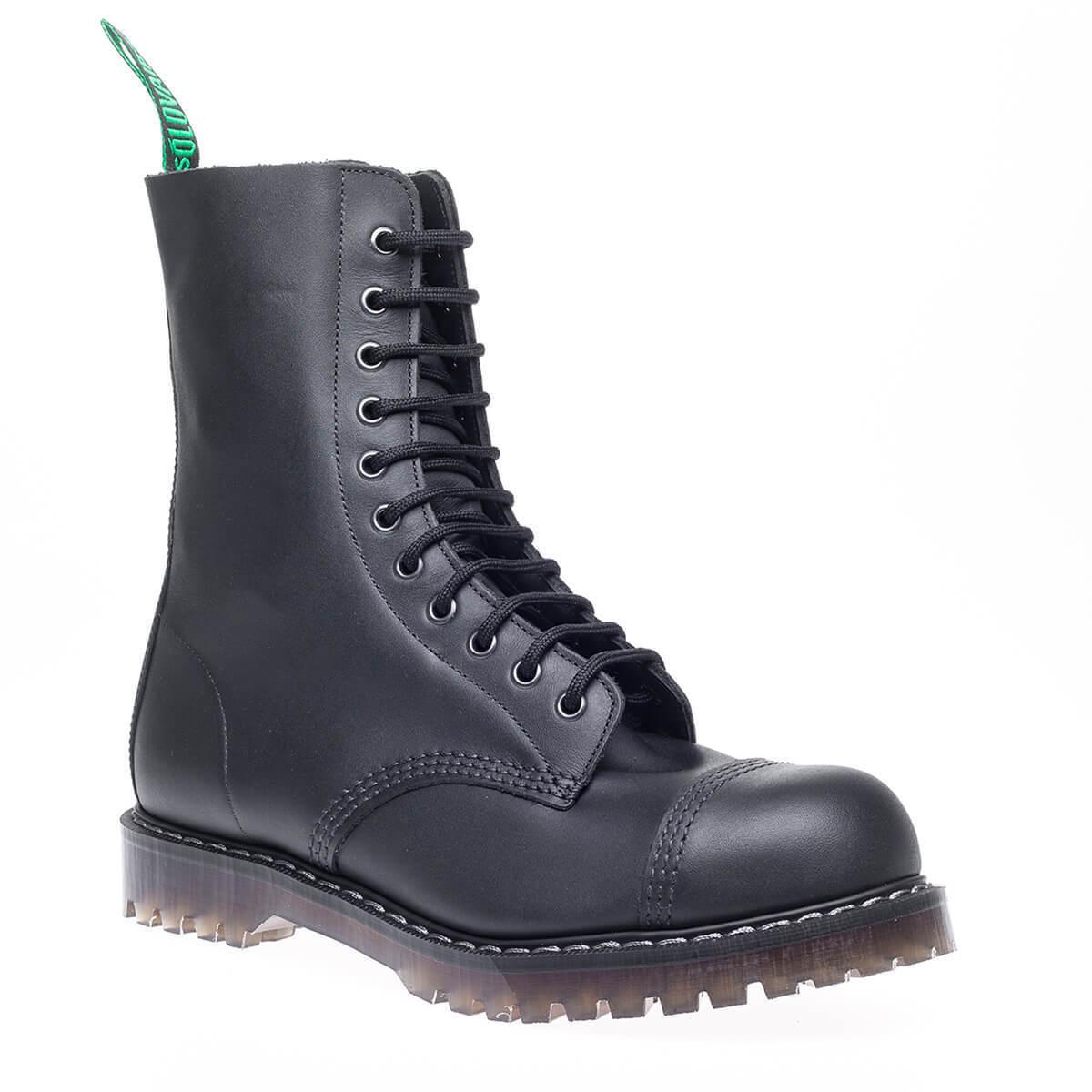 Solovair hecho Reino Unido para hombre Negro Cuero Graso Puntera De Acero botas De Combate Derby