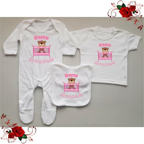 Girl Birth Bib Newborn Gift Set T-Shirt Style 4 Personalised Baby Grow