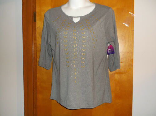 NEW JUST MY SIZE LADY/'S CHARCOAL SCOOP NECK GOLD DESIGN 3//4 SLEEVE PULLOVER TOP