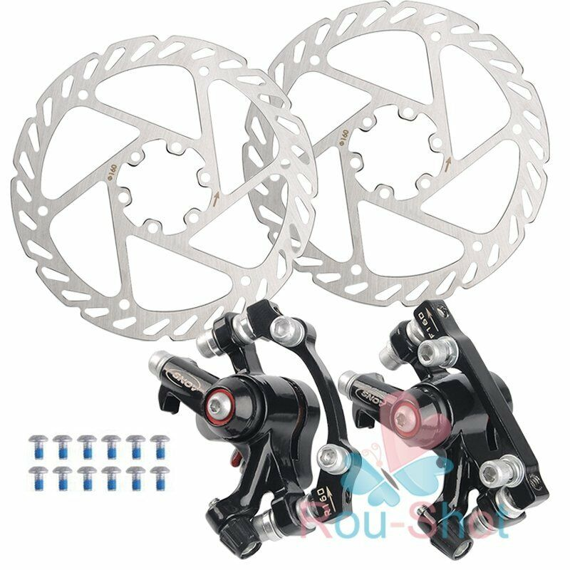 MTB Road Bike                 Bicycle 160mm Rotors Front Rear Disc Brake Caliper Set                 Kit 【US】