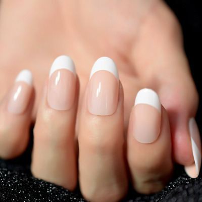 oval french manicure full cover peach transparent 24