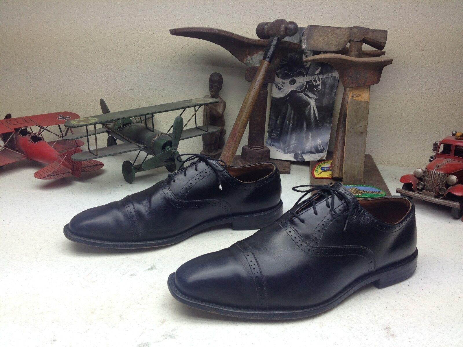 Hecho en EE. UU. Vintage ALLEN EDMONDS EVANSTON Negro Cuero BOSS Zapatos 11.5 D POWER