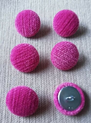 Pink Chenille Velvet 36L//23mm Fuchsia Upholstery Fabric Covered Buttons Craft