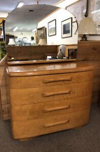 Super Details About Vintage Heywood Wakefield Mid Century Chest Dresser In Champagne Original Mirror Beatyapartments Chair Design Images Beatyapartmentscom