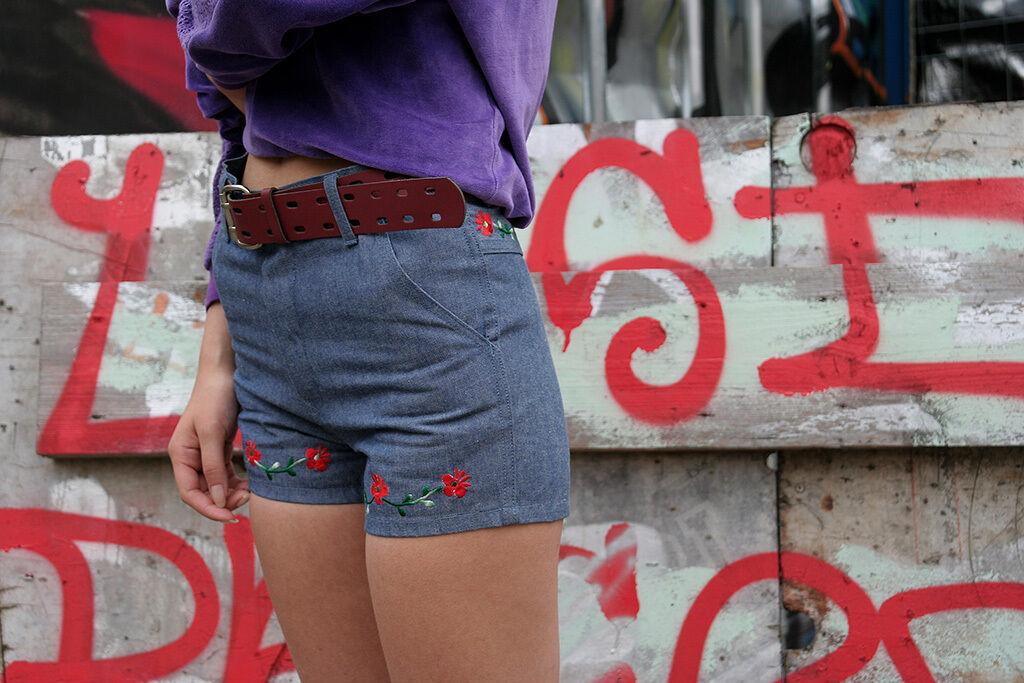 Hot Pants Jeans Hose Baumwolle 70er TRUE VINTAGE 70s short jeans hotpants bluee