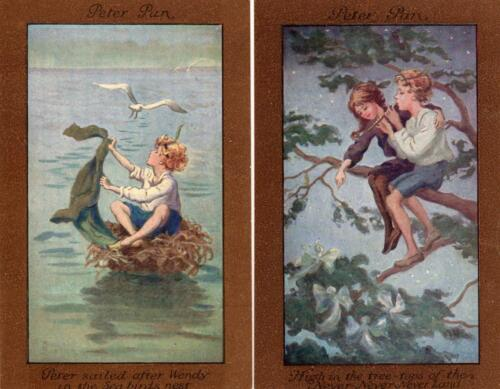 5 Peter Pan Sybil Barham unused old pcs C W Faulkener 1217