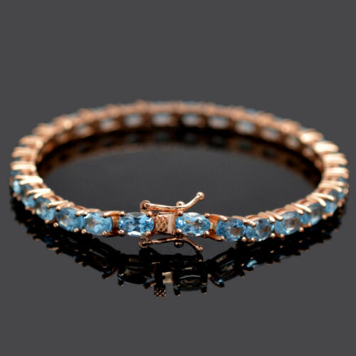 Details about  /Natural Swiss Blue Topaz Gem 14k Rose Gold Plating 925 Silver Tennis Bracelet