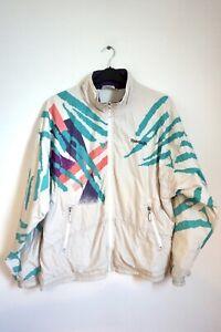 Vintage-Reebok-80-039-s-Unisex-Retro-Sports-Bomber-Track-Streetwear-White-Jacket-M-L
