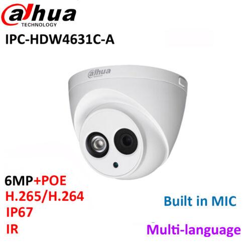 Dahua 6MP IP Camera IPC-HDW4631C-A Built-in MIC IR30m IP67 network CCTV Dome Cam