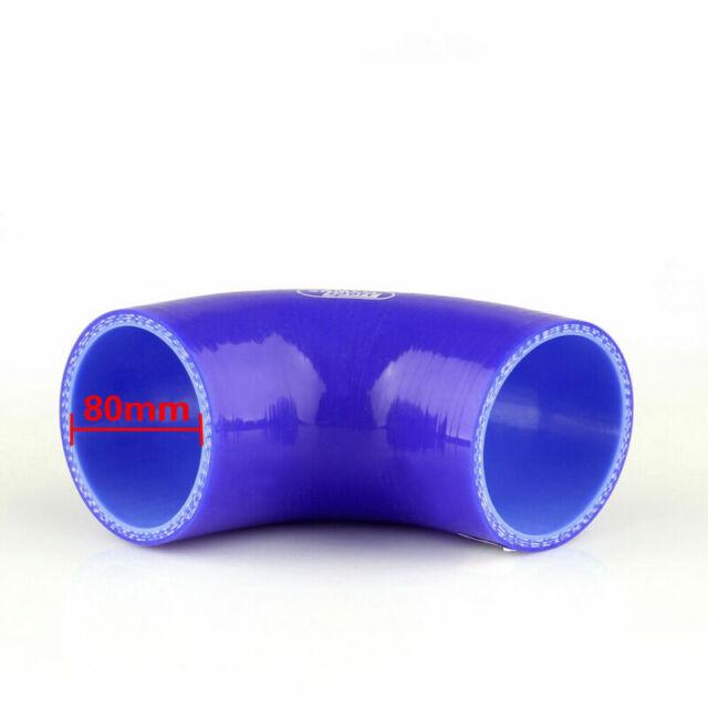 Elbow 90 Degree 90mm 80mm Silicone Tuyau Coupler Intercooler Turbo Intake Blue A
