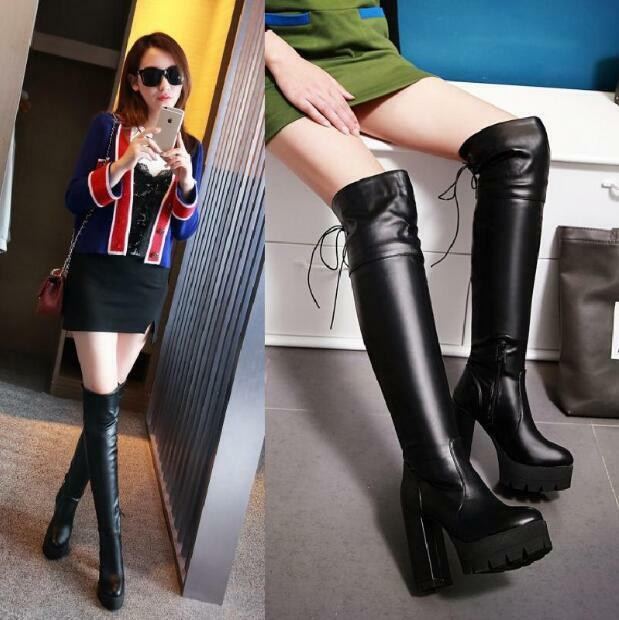 Womens Round Toe Chunky High Heels Over Knee Boots Warm Platform shoes Sexy Sbox