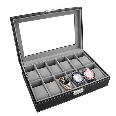 Leather PU 12 Slots Wrist Watch Display Box Storage Holder Organizer Case