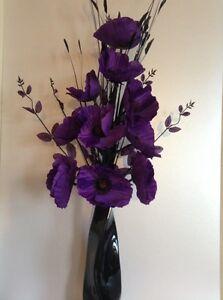 Artificial silk flower arrangement in purple poppies in black modern image is loading artificial silk flower arrangement in purple poppies in mightylinksfo