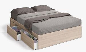 Cama de matrimonio para somier de 150x190 con cajones color madera ebay - Somier con cajones ...