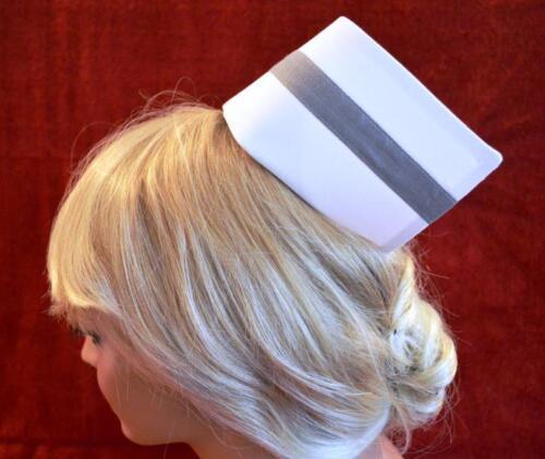 "2 Free pins Nurse Betty uniform cap hat 3//4/"" Grey Band 3 1//4/'/'Cuff 1 button"