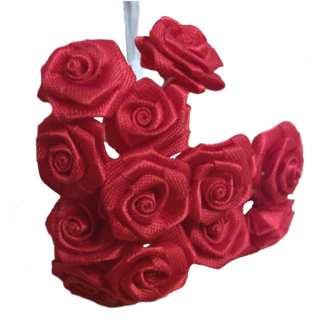144 Silk Mini Wrap Roses Wedding Shower Flower Picks Red