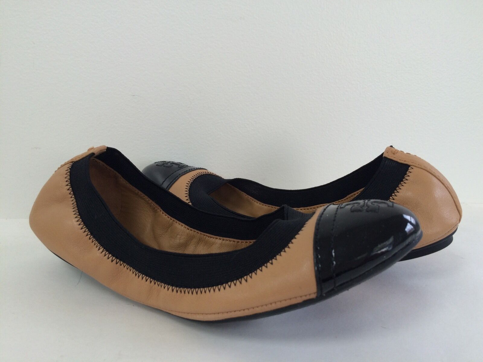 Nouveau Tory Burch 5.5 m Gabby Flats Ballet élastique Bordure Cuir Beige Noir Sz 5.5 m
