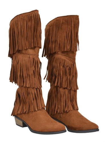 New Womens Knee High Fringe Flat Boots Suede Pu Dark Rust Size 7