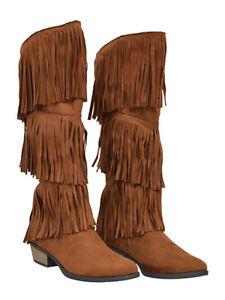 New Womens Knee High Fringe Flat Boots Suede Pu Dark Rust Size 8