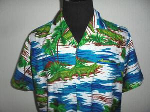 vintage-Don-Amigo-Hawaii-Hemd-hawaiihemd-krokodil-muster-shirt-crazy-pattern-L