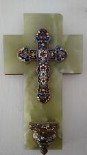 Catholic French Limoges cloisonne champlevé large cross marble bronze stoup Font